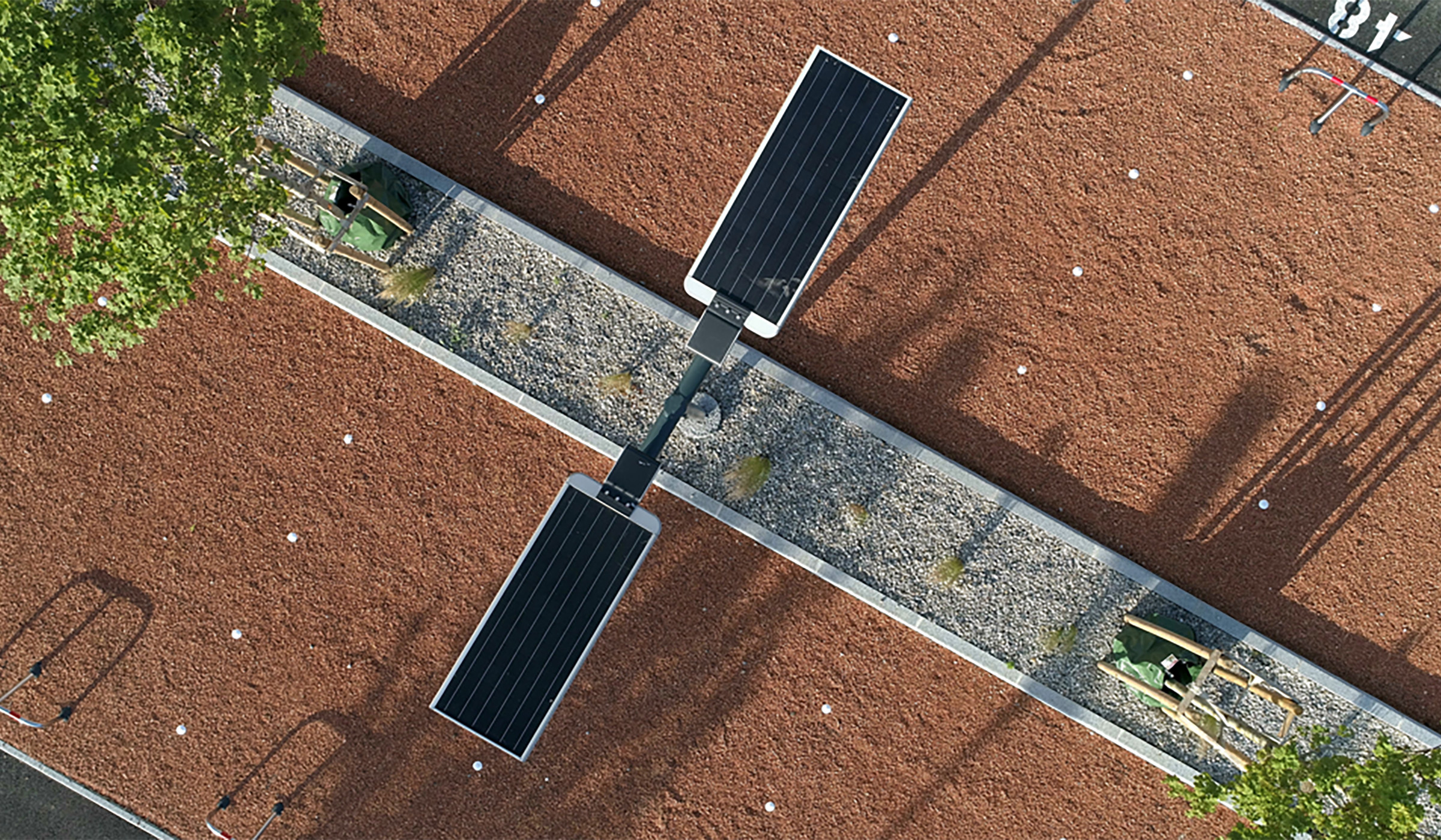 Solar street light 40 watts type installation in a parking lost, at South Part of France