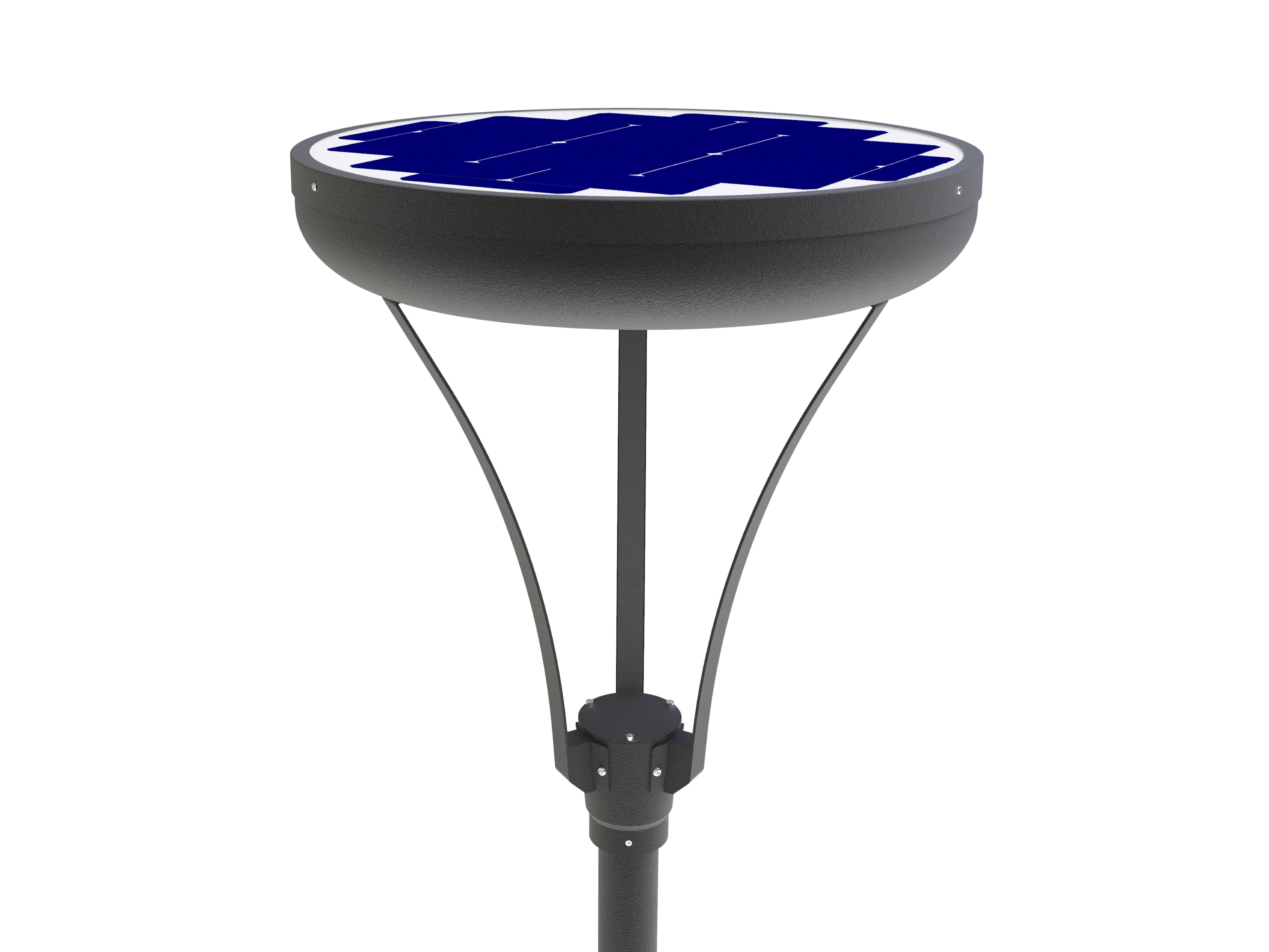 All-in-one solar garden light, smooth design with hybrid solution 30 to 60 watts