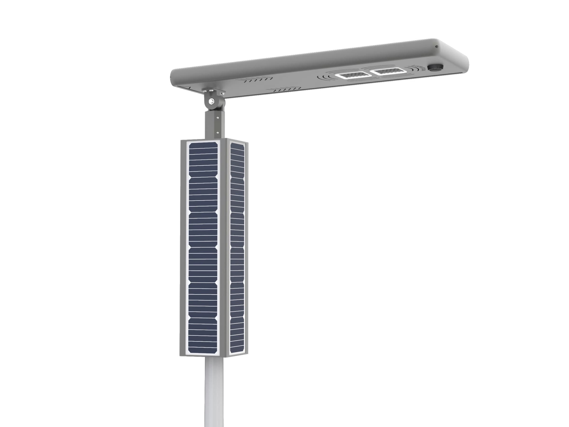 The Lightgogo 4 Plus is an upgraded version of the integrated solar street light, designed to meet the high power and brightness requirements of wide roads and motorways. With a maximum power of 120 watts, a maximum luminous efficacy of 180 lumens per watt