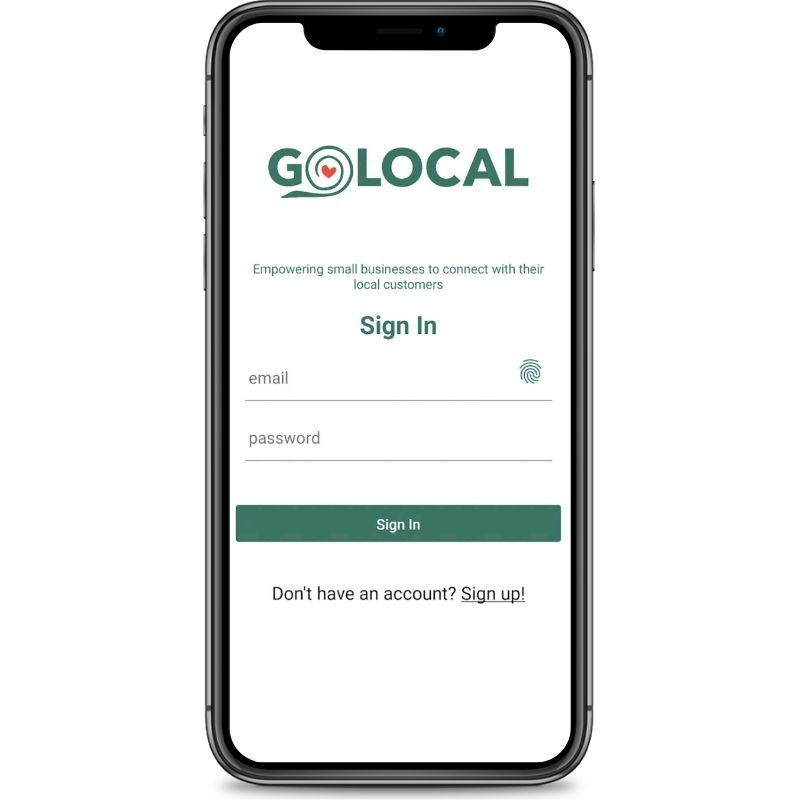 A screen shot of an iphone featuring the GoLocal app login screen.