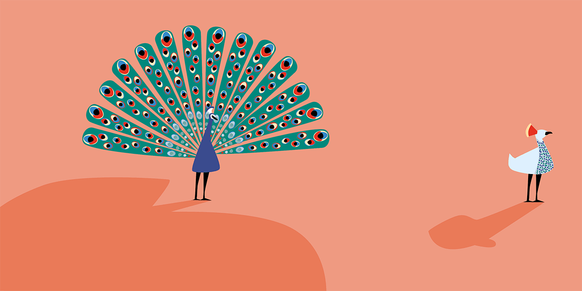 An illustrated peacock flaunting its beautiful feathers, he's sad because his beloved has her back turned to him