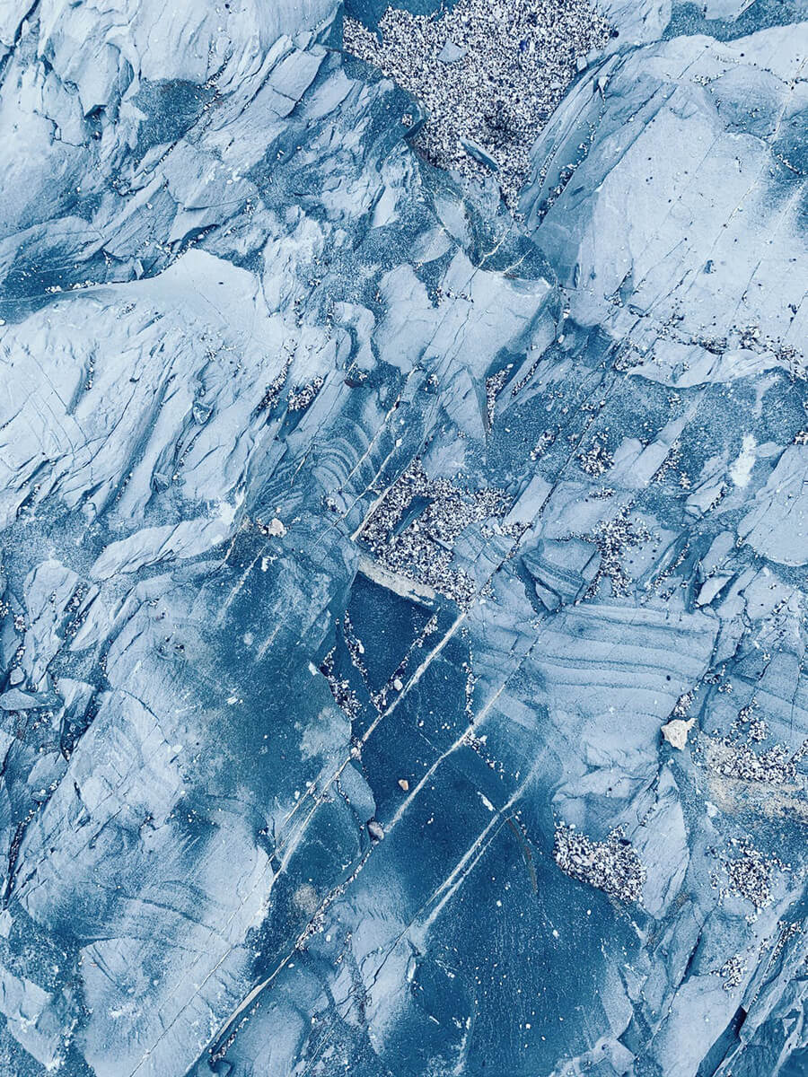 Icy mountains from a helicopter's point of view