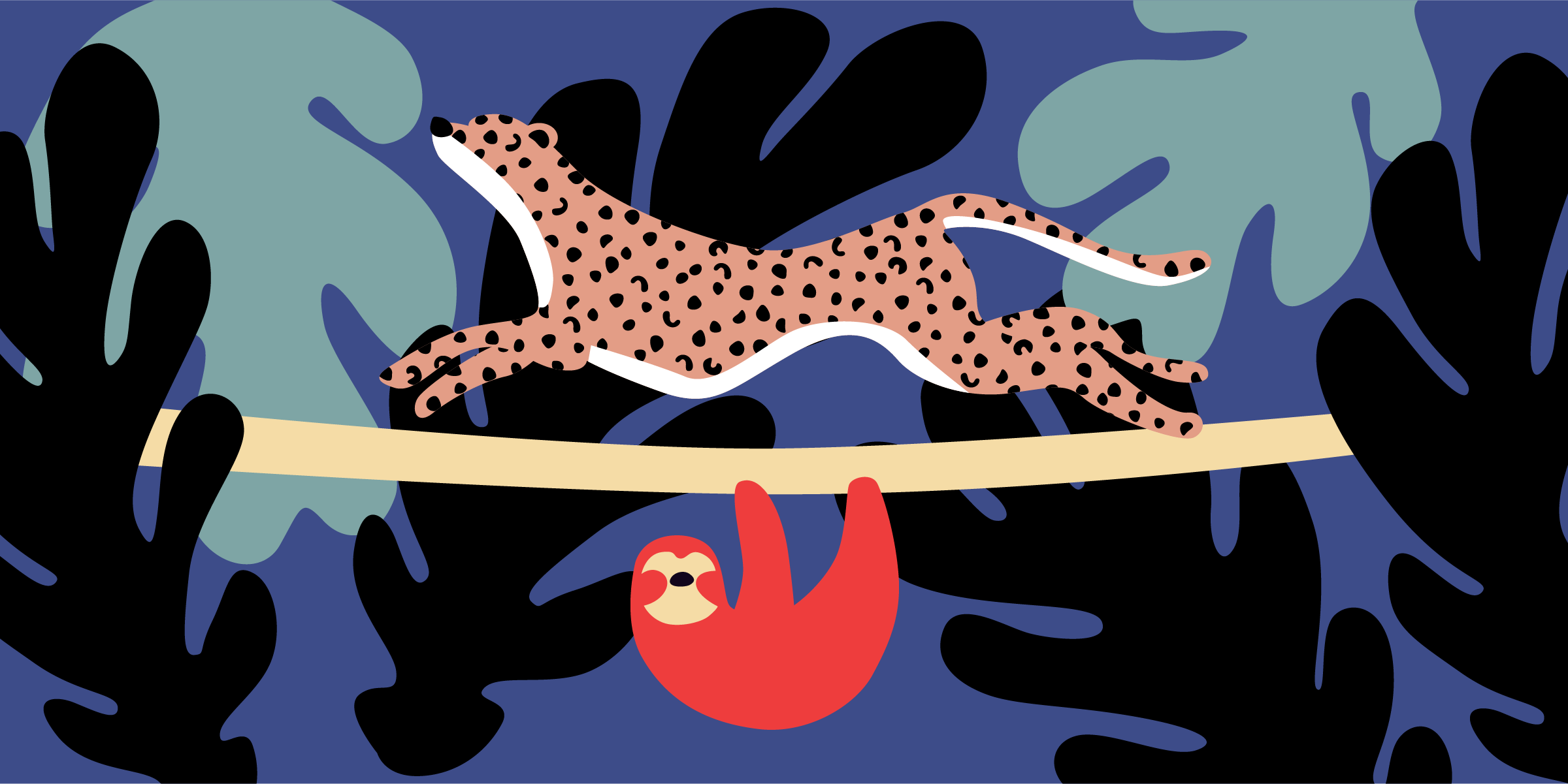 An illustrated sloth and cheetah. The cheetah is on top of a branch, running with energy. The sloth is hanging from the branch. The picture is a metaphor of mismatched libidos. The high libido partner is the cheetah, the other the sloth.