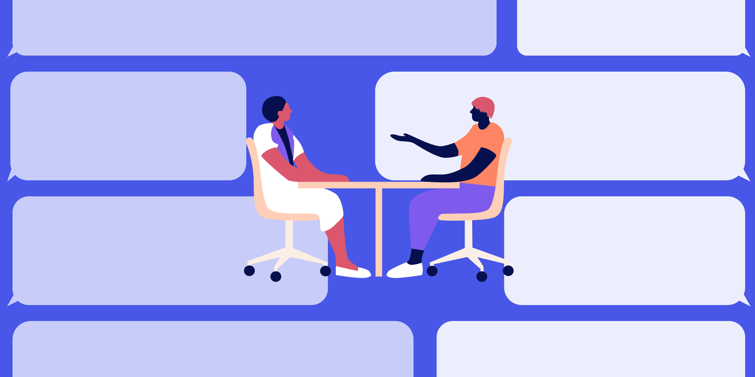 Illustrated Doctor and patient sitting at a table talking about sex