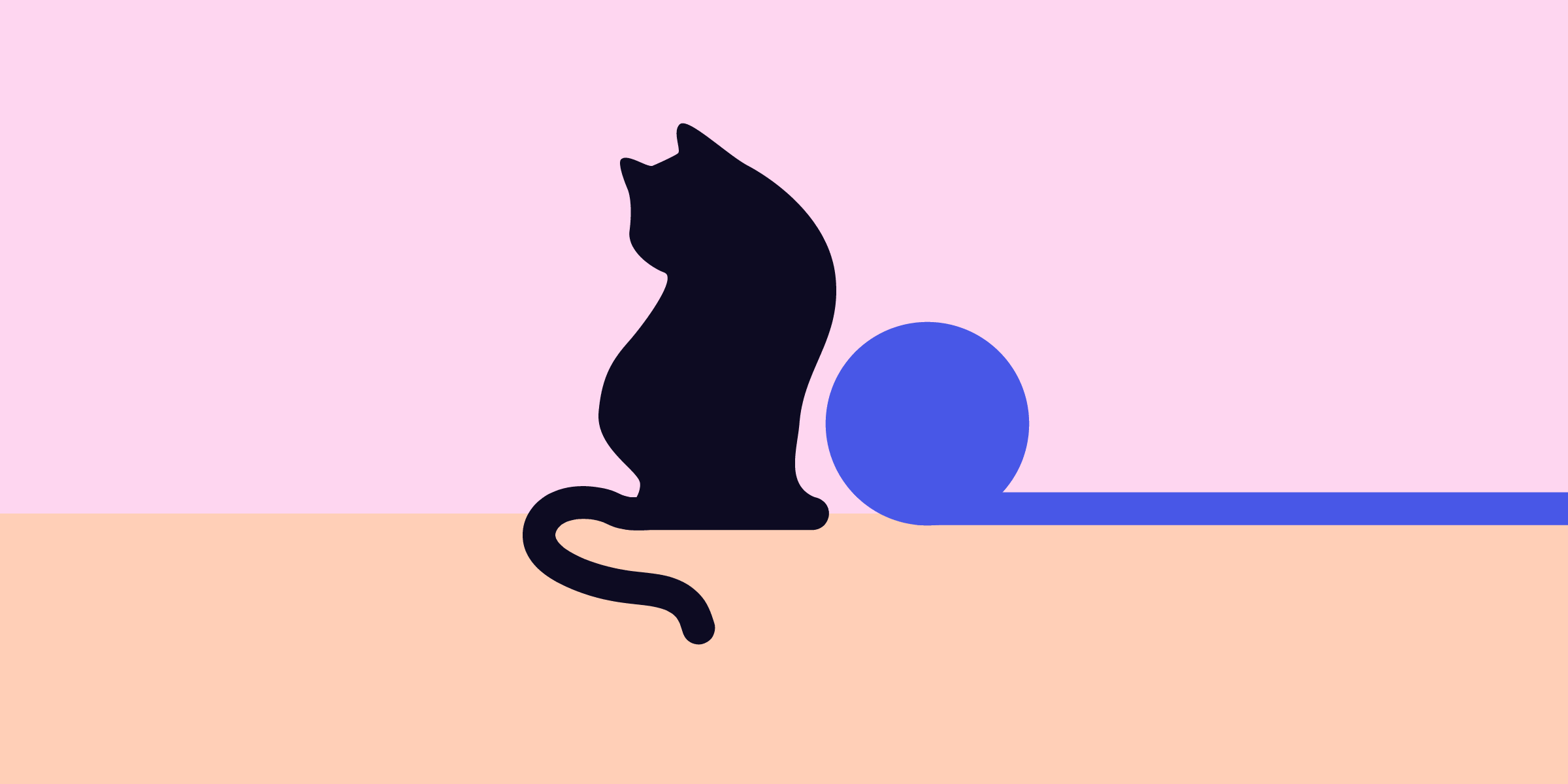 An illustrated black cat sitting on a blue surface looking over its shoulder