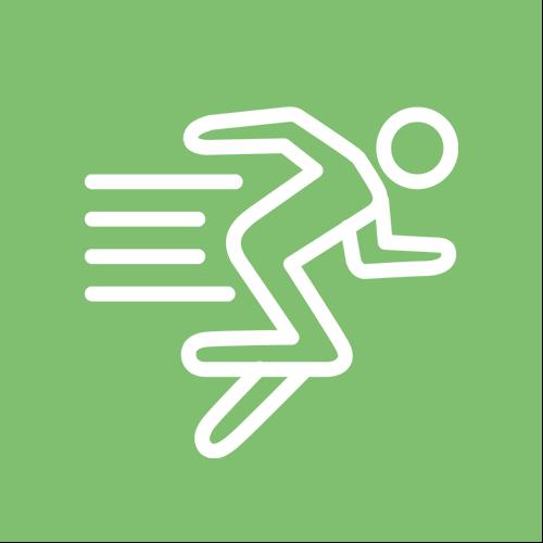 Grüner Kreis mit Symbol für Schnelligkeit