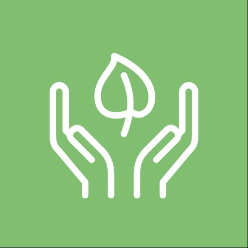 Grüner Kreis mit Symbol für Nachhaltigkeit