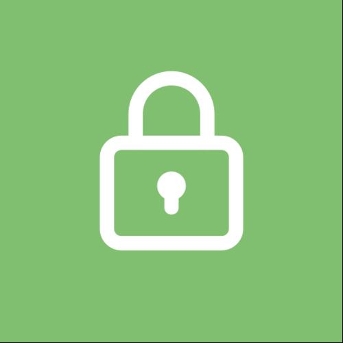 Grüner Kreis mit Symbol für Sicherheit