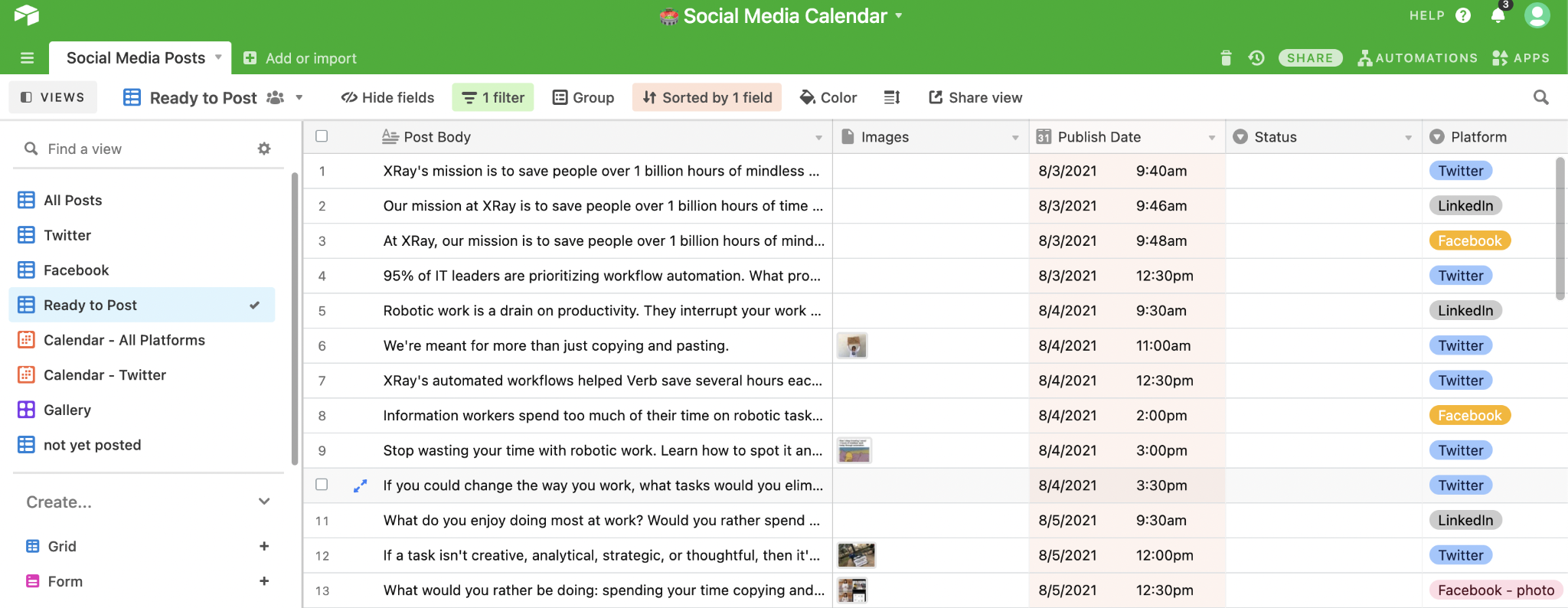 an Airtable base used to build a social media calendar