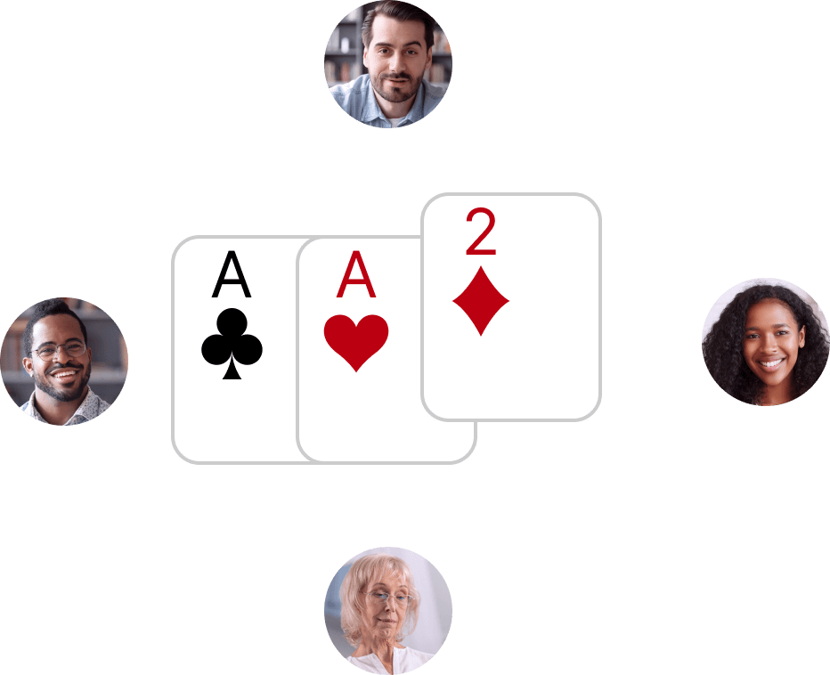 Screenshot depicting playing multiplayer game of cards during a video chat.