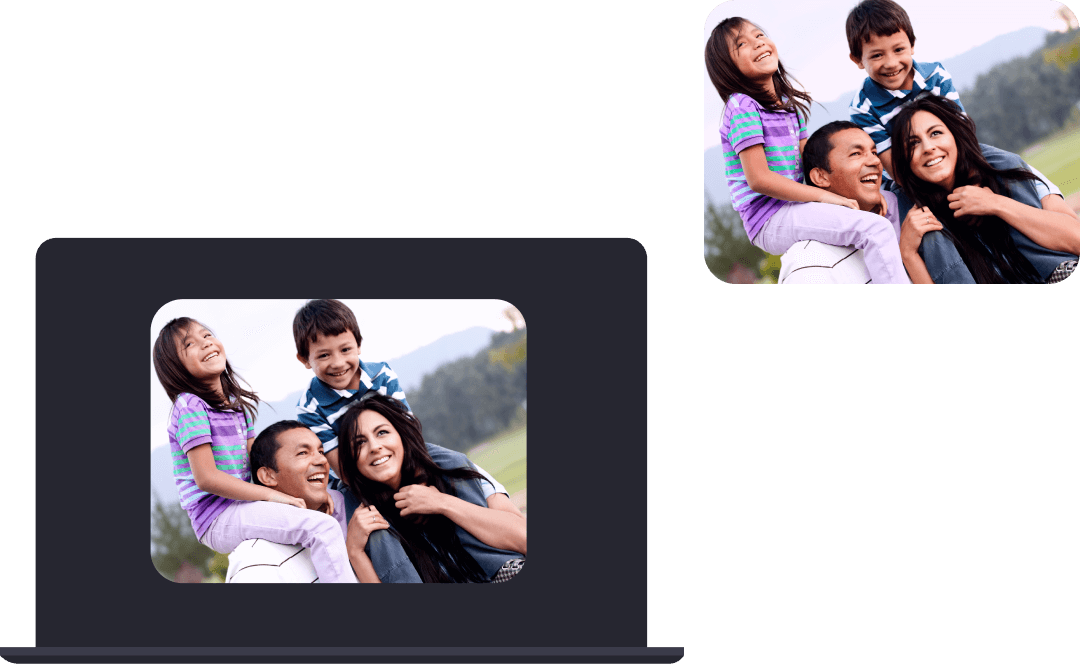 Graphic portraying screen share functionality of the Clanzy app. On the left is a Clanzy user's laptop screen sharing a family album photo.  On the right the same photo is shown to the other call participants' screens.
