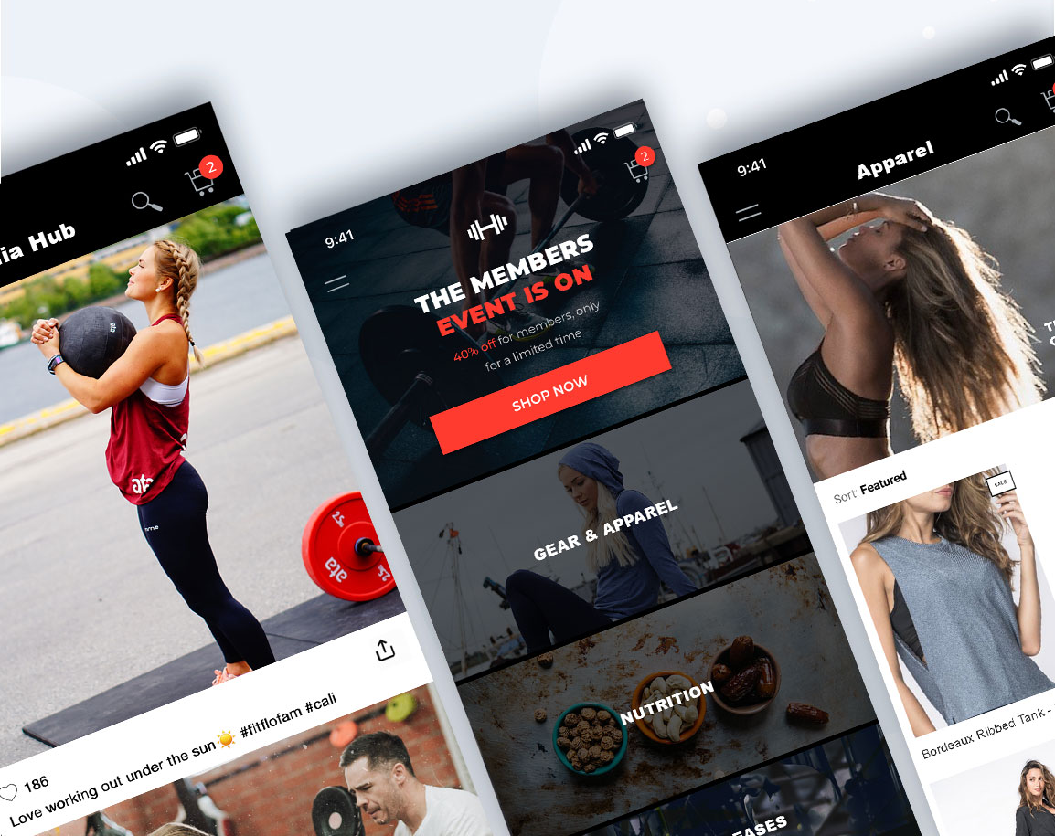 Mobile-first headless commerce used for a fitness and lifestyle clothing brand.