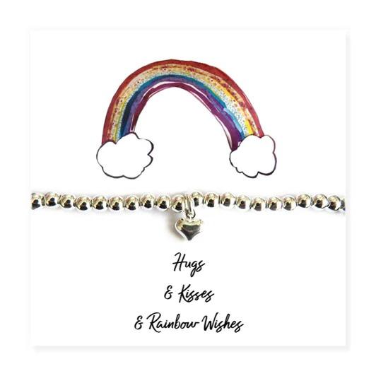 Hugs, Kisses & Rainbow Wishes Silver Heart Bracelet