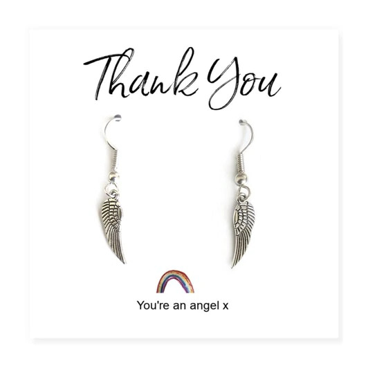 Angel Wing Earrings on a Rainbow Thank You Card