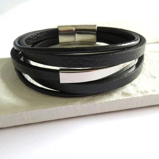 Black Leather Bar Bracelet