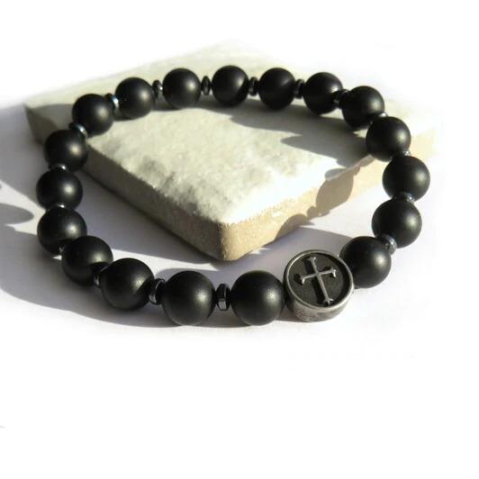 Mens Black Cross Bracelet