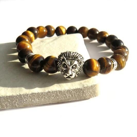 Mens Lion Beaded Bracelet