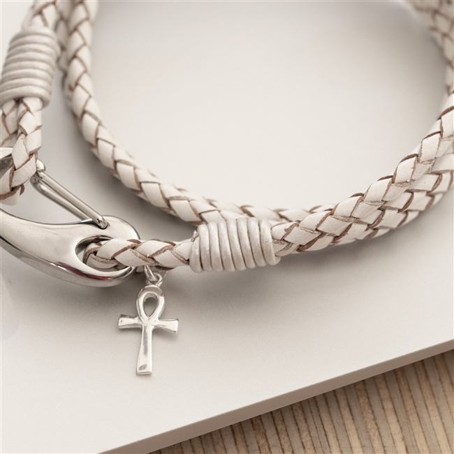 Leather Wristband with Ankh Cross Charm