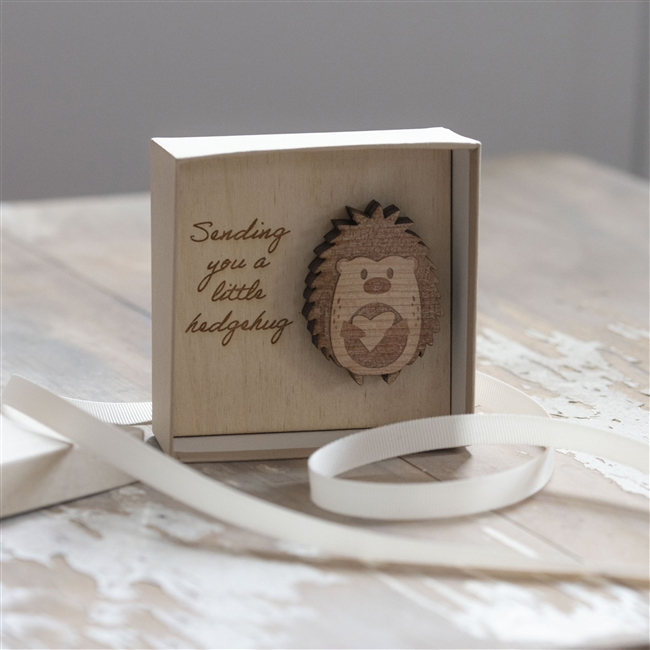 Wooden Box Gift - Sending You A Little Wooden Hedgehug