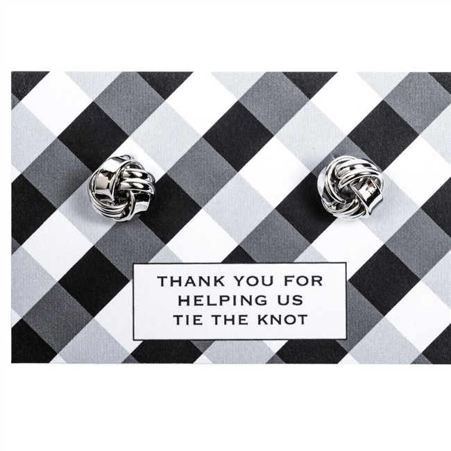 Lovely Cufflinks on a Card with the Message 'Tying The Knot'