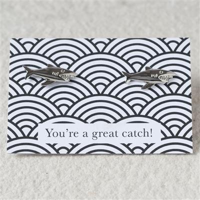 "Shark Design Cufflinks with ""Great Catch"" message"