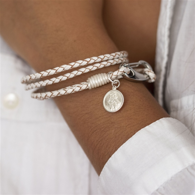 White Leather Wristband - St Christopher Charm