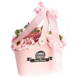 Basket Soap Flower Bouquet - Pink