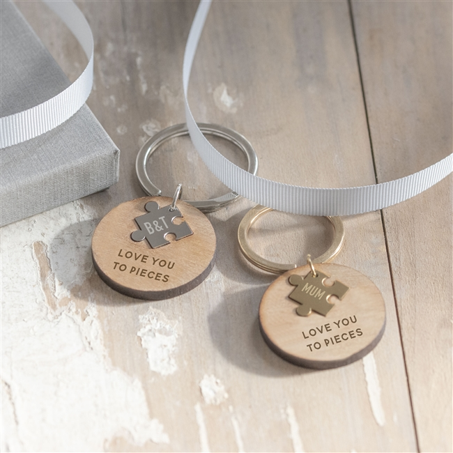 Wooden 'Love You To Pieces' Keyring