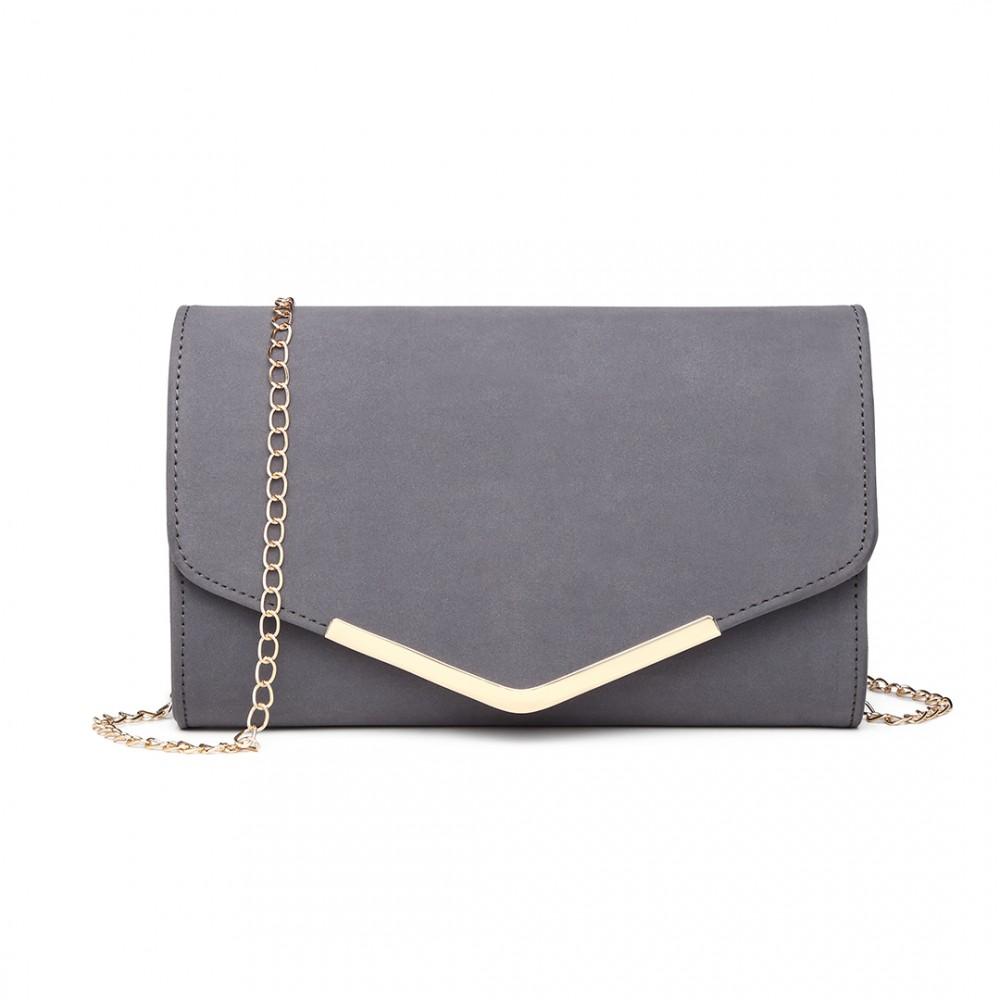 Grey - Leather Envelope Clutch Bag