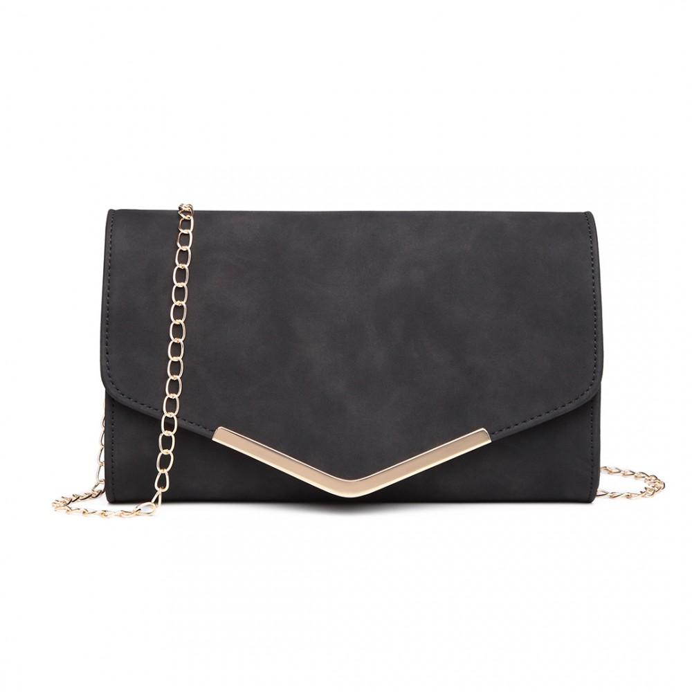 Black - Leather Envelope Clutch Bag