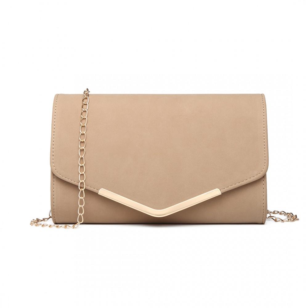 Beige - Leather Envelope Clutch Bag