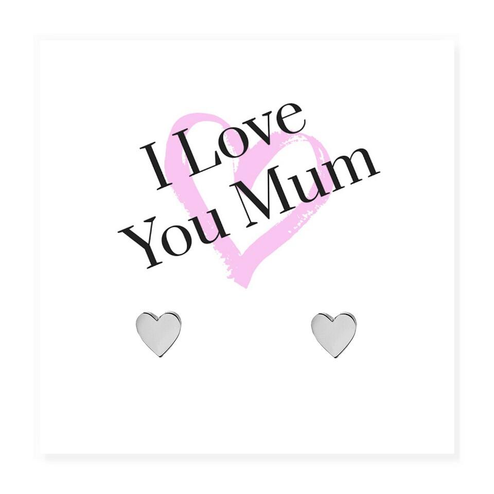 'I Love You Mum' Message Card & Heart Earrings
