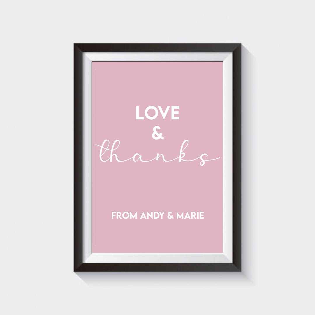 Personalised 'Love & Thanks'