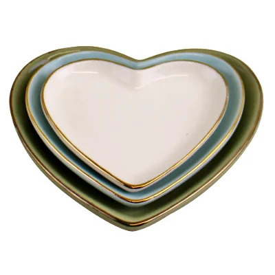 Set Of Three Ceramic Trinket Plates