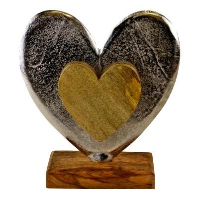 Large Metal & Wood Standing Heart