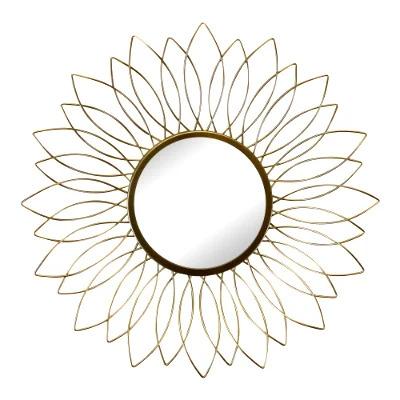 Gold Wire Flower Mirror