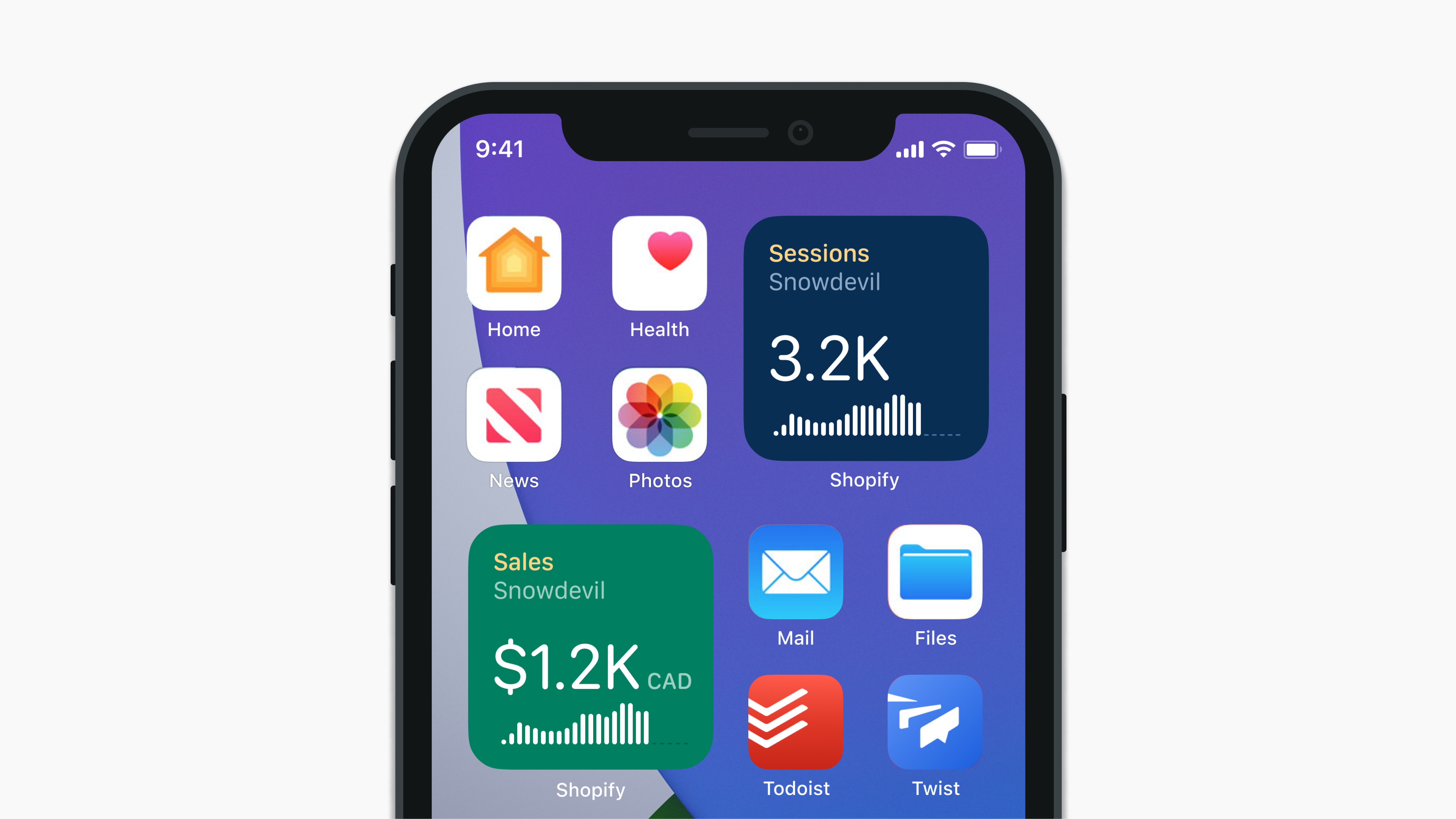 Mockup of final widget designs on the iOS home screen