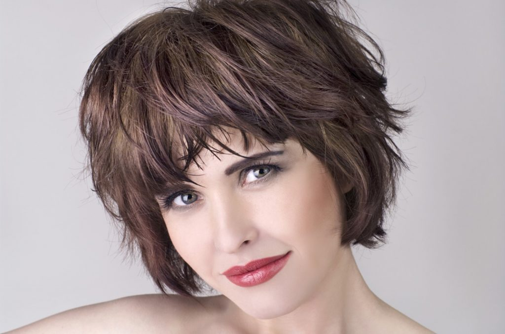 Girl with short hair and color trends
