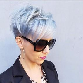 Trendy Grey hair and Short haircut