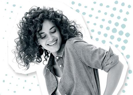 Girl piggyback perm youthful curls hair