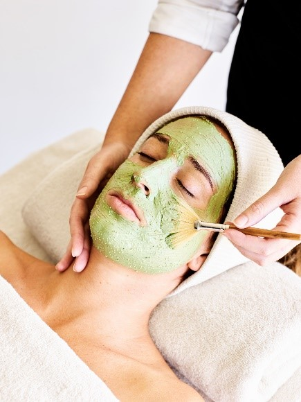 Female getting face mask