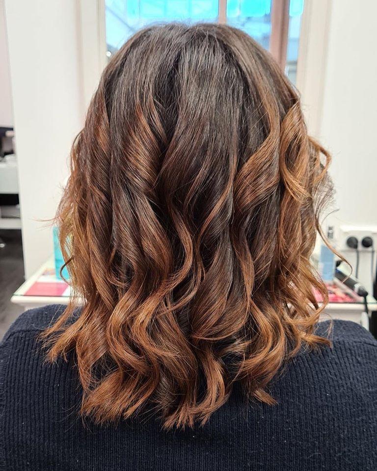 brown curled hair