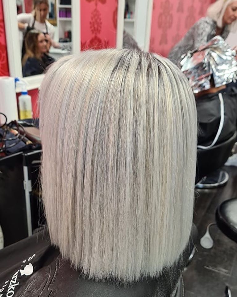 styled and coloured silver hair