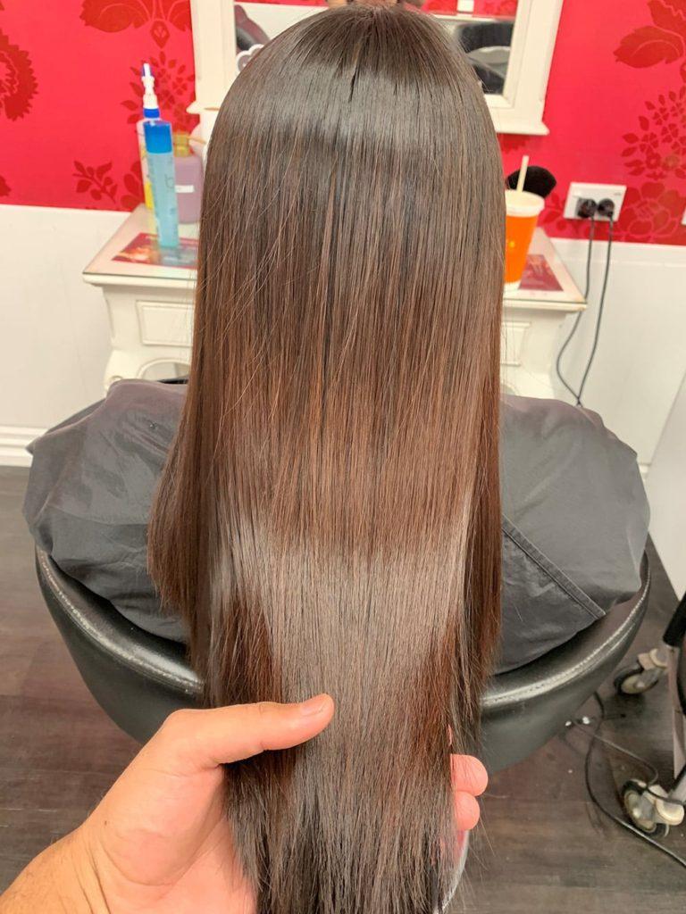 permanent straightened hair