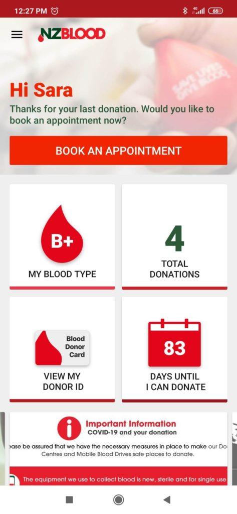 Sara giving blood