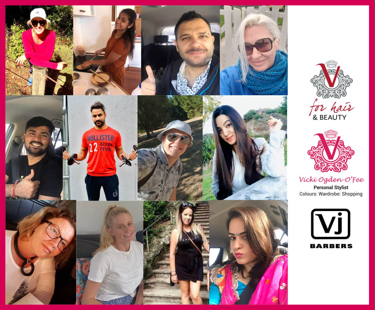V for hair staff collage