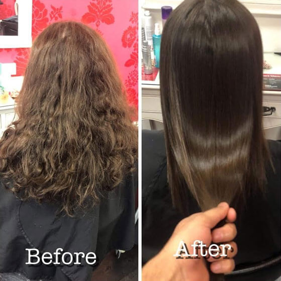 Permanent straightening V for hair and beauty before and after