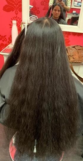 V for Hair Permanent Straightening before