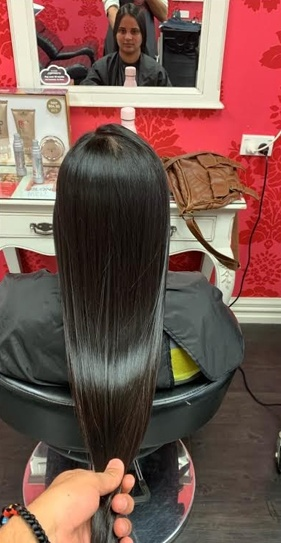 V for Hair Permanent Straightening after