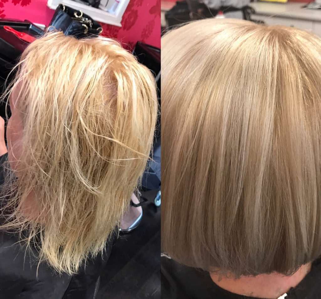 Dry blonde hair before and after treatment